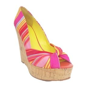 Nine West Chillpill Colorful Peep Toe Cork Wedges